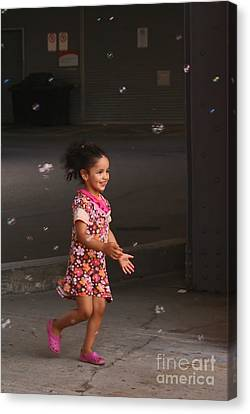 Bubbles Make The Happiest Moments Canvas Print by Aimelle