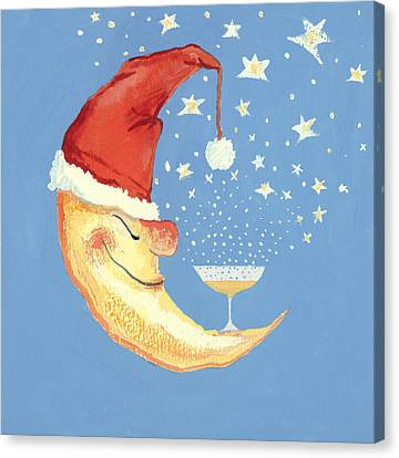 Bubbly Christmas Moon Canvas Print by David Cooke