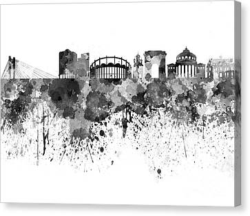 Bucharest Skyline In Black Watercolor On White Background Canvas Print by Pablo Romero