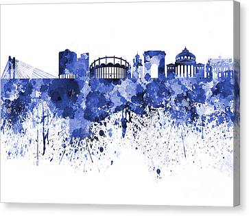 Bucharest Skyline In Blue Watercolor On White Background Canvas Print by Pablo Romero