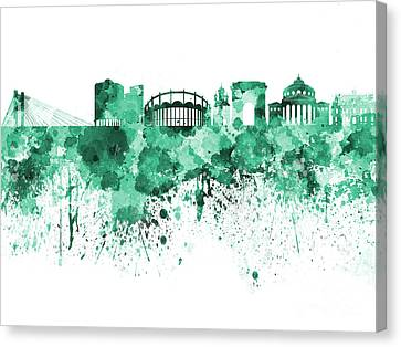 Bucharest Skyline In Green Watercolor On White Background Canvas Print by Pablo Romero