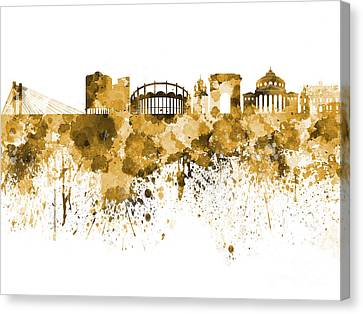 Bucharest Skyline In  Orange Watercolor On White Background Canvas Print by Pablo Romero