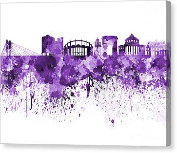 Bucharest Skyline In Purple Watercolor On White Background Canvas Print by Pablo Romero