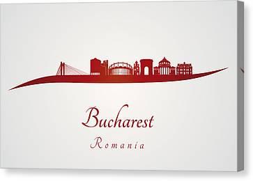Bucharest Skyline In Red Canvas Print