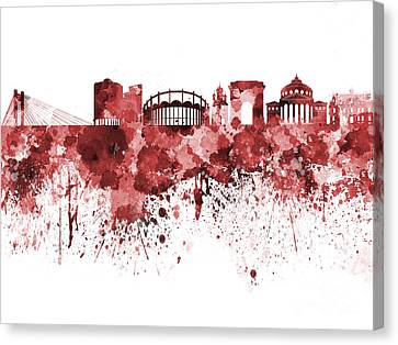 Bucharest Skyline In Red Watercolor On White Background Canvas Print by Pablo Romero