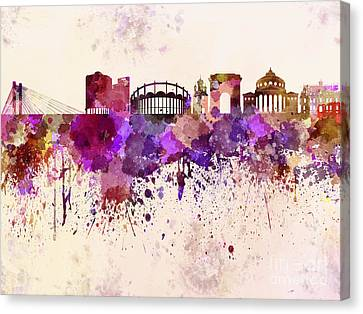Bucharest Skyline In Watercolor Background Canvas Print