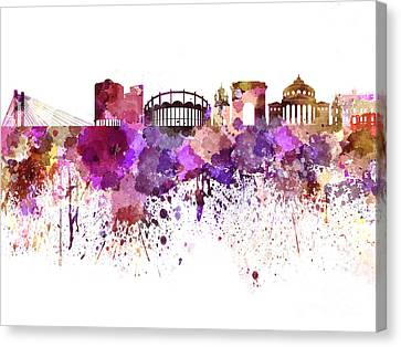 Bucharest Skyline In Watercolor On White Background Canvas Print by Pablo Romero