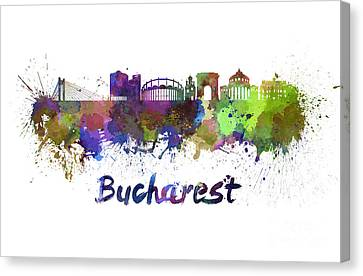 Bucharest Skyline In Watercolor Canvas Print by Pablo Romero