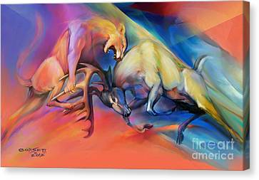 Canvas Print featuring the painting Buck Off by Rob Corsetti
