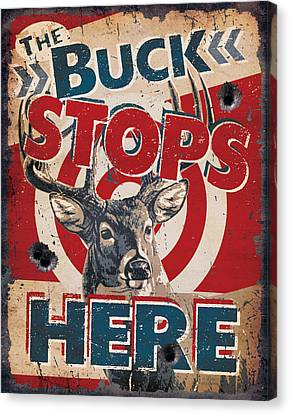 Buck Stops Here Sign Canvas Print by JQ Licensing