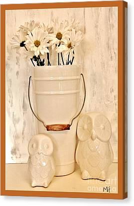 Bucket Of Daisies Canvas Print by Marsha Heiken