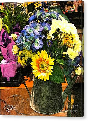Canvas Print featuring the photograph Bucket Of Flowers by Phil Mancuso