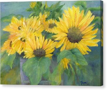 Bucket Of Sunflowers Colorful Original Painting Sunflowers Sunflower Art K. Joann Russell Artist Canvas Print