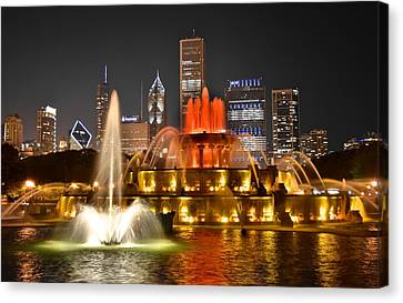 Buckingham Fountain At Night Canvas Print by Frozen in Time Fine Art Photography