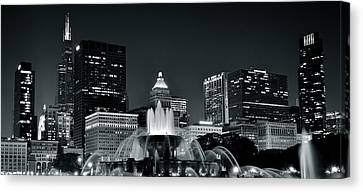 Buckingham Fountain Black And White Canvas Print by Frozen in Time Fine Art Photography