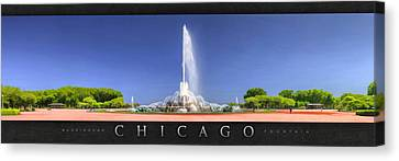 Buckingham Fountain Panorama Poster Canvas Print