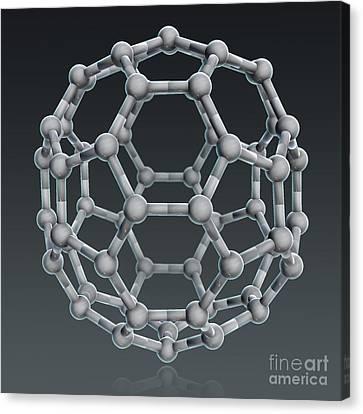 Buckminsterfullerene Molecular Model Canvas Print by Evan Oto