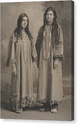 Canvas Print featuring the photograph Buckskin  Beadwork Native American Girls by Paul Ashby Antique Image