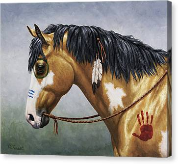 Horse Lover Canvas Print - Buckskin Native American War Horse by Crista Forest