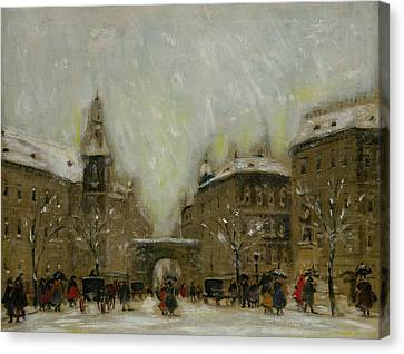 Budapest In The Snow Canvas Print by Antal Berkes