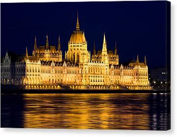 Budapest Parliament At Night Canvas Print by Artur Bogacki