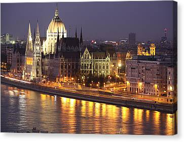 Budapest Parliament Buildings Canvas Print by Shirley Mitchell