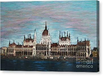 Canvas Print featuring the painting Budapest Parliament By Jasna Gopic by Jasna Gopic