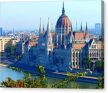 Canvas Print featuring the photograph Budapest Parliament by Kay Gilley