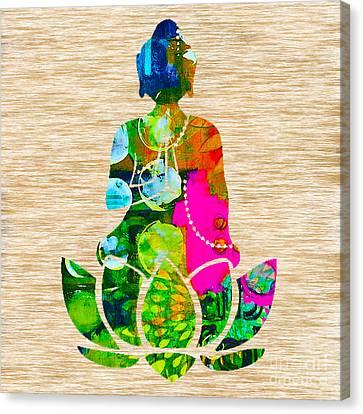 Meditation Art Canvas Print - Buddah On A Lotus by Marvin Blaine