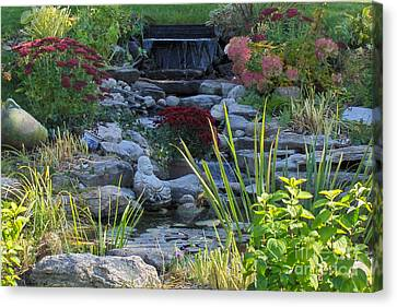 Canvas Print featuring the photograph Buddha Water Pond by Brenda Brown