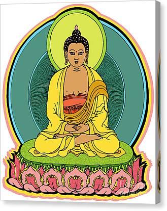 Buddha Sketch Canvas Print - Buddha Blessings by Sol Sketches