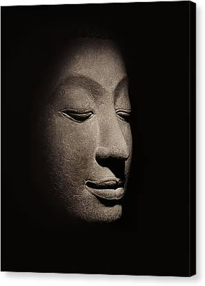 Buddha Head From The Early Ayutthaya Period Canvas Print by Siamese School