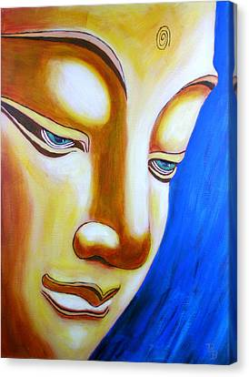 Canvas Print featuring the painting Buddha Head Gazing Art by Bob Baker