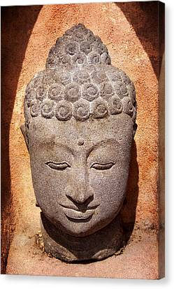 Buddha In Light And Shadow Canvas Print by Carol Leigh