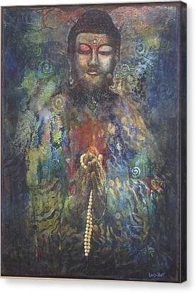 Divine Breath Canvas Print - Buddha In Prayer by Sharon Lacy-Huff