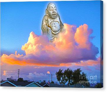 Canvas Print featuring the painting Buddha In The Clouds Of Suburbia by Gregory Dyer