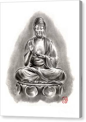 Buddha Medicine Buddhist Sumi-e Tibetan Calligraphy Original Ink Painting Artwork Canvas Print by Mariusz Szmerdt