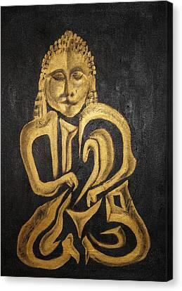 Buddha Metallica Canvas Print by Pius Kendakur