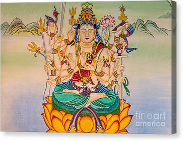 Buddha Painting On The Wall Canvas Print