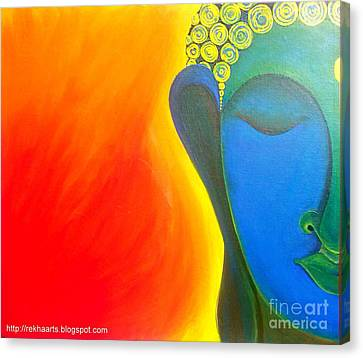Buddha Painting Canvas Print by Rekha Artz
