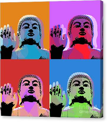 Buddha Pop Art - 4 Panels Canvas Print