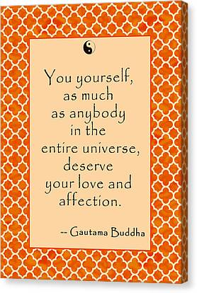 Buddha Quote Love And Affection Canvas Print by Scarebaby Design