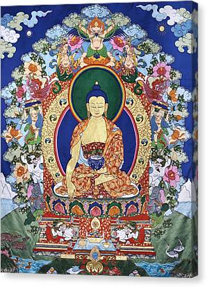 Fiber Canvas Print - Buddha Shakyamuni And The Six Supports by Leslie Rinchen-Wongmo