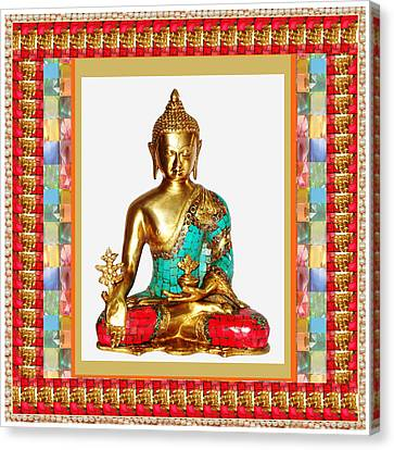 Buddha Sparkle Bronze Painted N Jewel Border Deco Navinjoshi  Rights Managed Images Graphic Design I Canvas Print by Navin Joshi