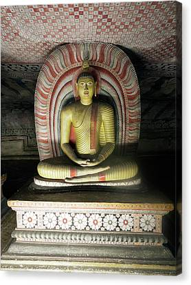 Golden Temple Canvas Print - Buddha Statue In Cave II Of Dambulla by Panoramic Images