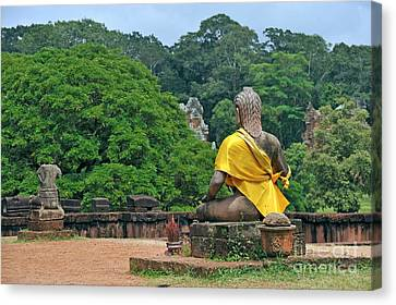 Buddha Statue Wearing A Yellow Sash Canvas Print by Sami Sarkis