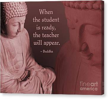 Canvas Print featuring the painting Buddha Student Is Ready by Ginny Gaura