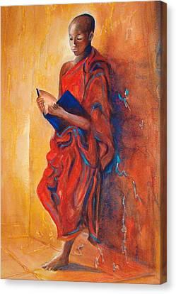 Buddha Study Canvas Print by Myra Evans