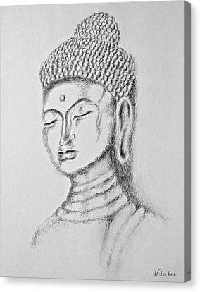 Buddha Sketch Canvas Print - Buddha Study by Victoria Lakes