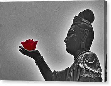 Canvas Print featuring the photograph Buddha With Rose  by Sarah Mullin